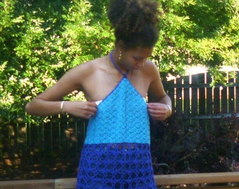 Turquoise And Dark Blue Summer Fashion Ready for the Beach or Music Festival  Crochet Halter Top