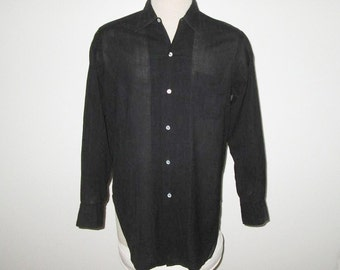 Vintage 1950s 1960s Black Sheer L/S Shirt By de Free's Woven In France - Size M