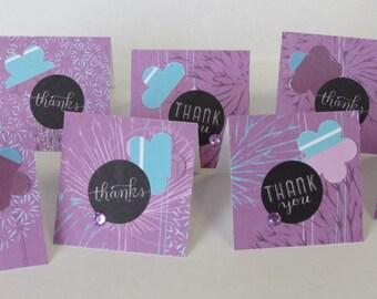 8 Mini Thank You Cards, Thank You Cards, Mini Cards, Purple Gift Cards, Handmade Cards.