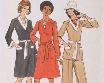ON SALE 70s Vintage Butterick 3202 Sewing Pattern Dress Tunic Pants Size 14 Bust 36 Uncut FF