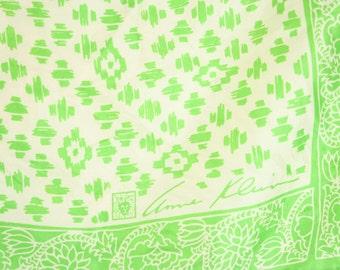 """Vintage Green & White Anne Klein Silk Scarf 25.5"""" x 25.5"""" Hand Rolled Hem"""