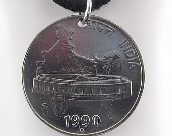 1990 India Coin Necklace, 50 Paise, Mens Necklace, Womens Necklace, Coin Pendant, Leather Cord, Vintage