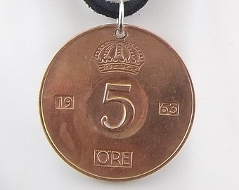Sweden Coin Necklace, 5 Ore, Coin Pendant, Leather Cord, Mens Necklace, Womens Necklace, Birth Year, 1963
