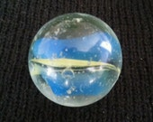 """Vintage 1"""" Glass Marble, Blue and Yellow Cats Eye. By Jabo or House of Marbles?"""