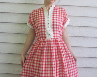 50s Red Gingham Dress Cotton Check Print Rockabilly Vintage S M