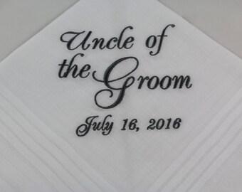 Uncle of the Groom - Embroidered Handkerchief - Wedding Gift - Simply Sweet Hankies