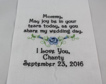 Personalized Mother of the Bride Embroidered Wedding Handkerchief Mom of the Bride Wedding Gift Keepsake Favors Lace by Simply Sweet Hankies
