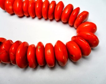 Gemstone Beads, red Orange  rondelle Coral Beads,large spacer Coral bead 19x8 mm