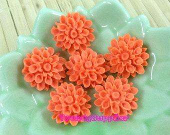 10 pcs Bright Orange Chrysanthemum Cabochon (010)