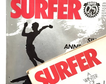 SURFER Magazine - 2 Issues 1977 & 1985 Silver Anniversary Special - Rare - Surf Culture Back in the Day