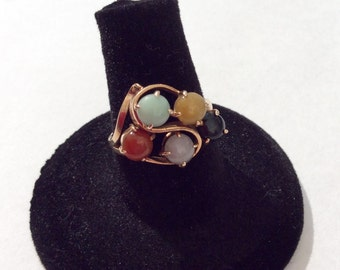 Jade Multi Colored Vintage Ring 14k Gold Ring
