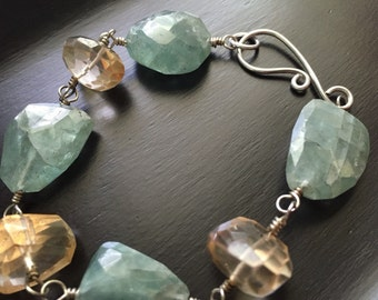 Citrine Nugget Bracelet, Moss Aquamarine Nuggets, Wire Wrapped, Sterling Silver