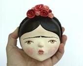 Frida Kahlo art - wall mask  sculpture - doll face wall art  ooak