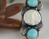 Boho Moonface and Turquoise RIng, Southwestern Silver Ring