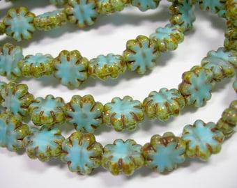 25 beads -Cactus Flower Blue Picasso Czech Glass Flower Beads 9mm