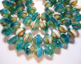 25 7mm Czech Glass Capri Blue White Picasso Faceted Saturn Saucer Beads