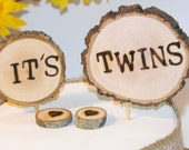 It's Twins Birth announcement, Rustic Cake topper/ Woodland Baby Shower / gender reveal / baby decorations, wood slice