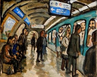 Metro de Paris. Original Oil Painting, 8x10 inch Oil on Canvas, Urban Expressionist Subway Oil Painting, Signed Original Fine Art