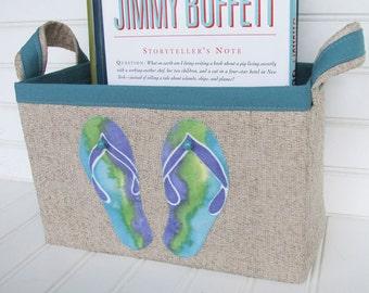 Coastal Flip Flop Design Fabric Storage Basket
