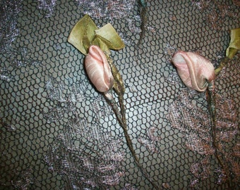 rose bud with ribbon silk antique ribbon work flower metal mesh authentic
