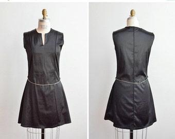 30% OFF STOREWIDE / SALE / Vintage 1990s Mario & Gena black mini dress w/chain belt