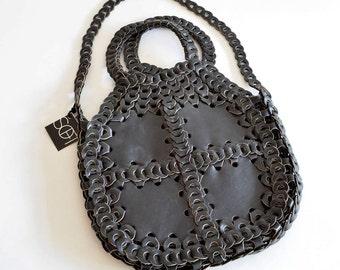 Vintage 1970s WOVEN leather purse