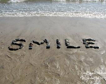 Beach Photography- SMILE Beach Wish Photo, 5x7 Beach Photo Print, positive upbeat word, beach stone word art, coastal photo art, beach decor