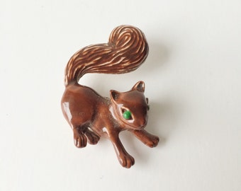 Vintage Gerry's Green-Eyed Baby Squirrel Enamel Brooch Pin