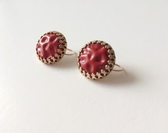 Unique Red and Gold Vintage Earrings