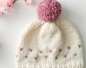 Child Size Knit Hat, Tiny Hearts Knit Beanie, Valentines Day Gift, Kids Winter Accessory, Kid Hat, Heart Beanie, Child Pom Pom Hat, Kid Gift