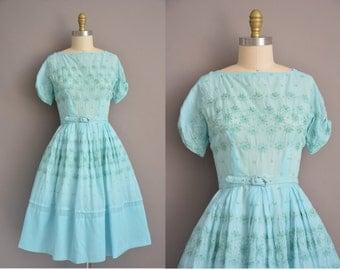 50s blue floral embroidered cotton vintage dress / vintage 1950s dress