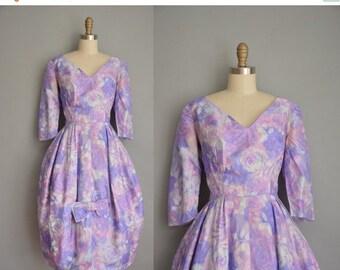 25% off SHOP SALE... vintage 1950s dress / 50s dress / floral silk party dress