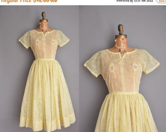 Anniversary SHOP SALE... vintage 1950s dress / flocked floral chiffon dress / 50s full skirt