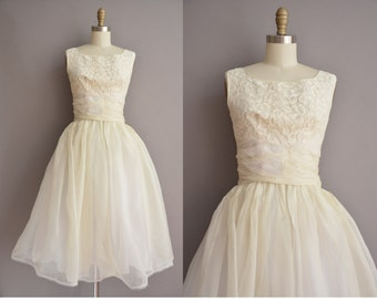 50s ivory chiffon vintage lace full skirt party dress / vintage 1950s dress
