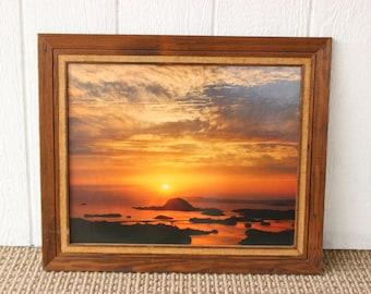 Vintage Beach Ocean Sunset Photograph Print Wood Burlap Frame