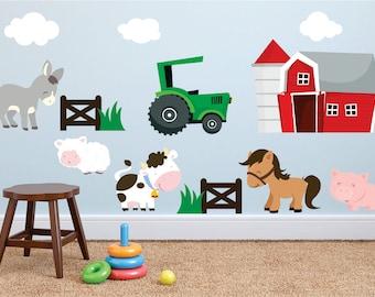 Farm Wall Decals, Farm Animal Decal, Horse Wall Decal, Animal Wall Decals, Animal Wall decal, Kids Room Farm Decals, Farm Decals, Barn Decal