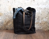 Marlowe Carryall in Coal, Waxed Canvas Tote, Waxed Canvas Bag, Shoulder Bag, Market Tote, Waxed Canvas Carryall, Leather, For Him, For Her