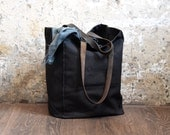 Waxed Canvas Marlowe Carryall, Coal, Black Tote Bag, Waxed Canvas Bag, Market Tote, Wax Canvas Carryall, Leather, Peg and Awl, Gift for Her