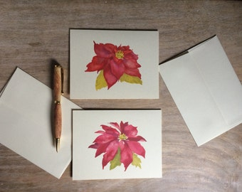 Poinsettia Holiday Cards - Christmas Cards - A blank notecard to send good wishes