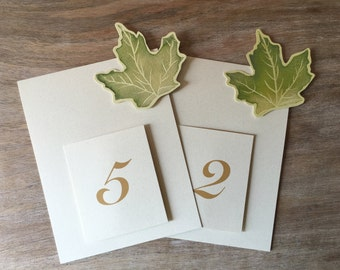Maple Tree - Green Leaves Table Numbers - table decoration Seating for guests. Weddings, parties, events.