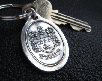 Keychains Key Fob Key Ring with Family Crest Coat of Arms  in Sterling Silver Custom  Family Reunion Gift 25th Anniversary Gift
