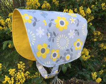 Sun Hat - Sun BONNET - Baby Sun Hat - Reversible Bonnet - Yellow and Grey Bonnet