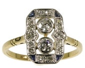 Summer Sale Art Deco Engagement Ring Diamonds Sapphires Yellow Gold ref.14197-0064