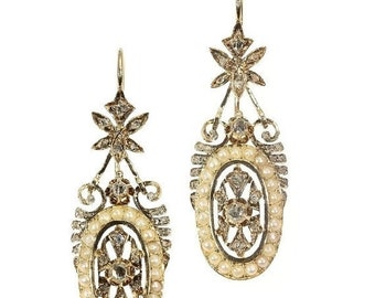 20% Off Valentine Sale Pearl Diamond Dangle Earrings - Victorian rose gold long earrings antique diamonds pearls c1870