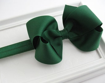 Girls Christmas Headband, Dark Forest Green Hair Bow, Baby Headband, School Uniform Bow, Back to School Bow, Girls Hair Accessories