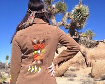 Vintage 70's Embroidered Western Shirt / Floral Tribal Embroidery in Fall Colors / Boho Hippie Women M
