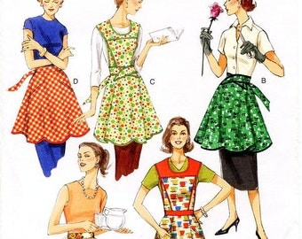 All Sizes Included - Vogue Apron Sewing Pattern V8740 -  Misses' 50's Retro Style Bib or Waist Aprons - All Sizes Included Pattern