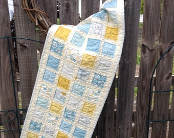 "QUILTED TABLERUNNER, RAGGY Patches, 2.5"" Squares, Blues and Yellows, Quilted Table Mat, 13"" x35.5"", Traditional, Handmade, Ready To Ship"