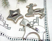 Vintage Cookie Cutters  - Set of 3 - Metal Aluminum - Reindeer - Horse - Star - Fluted Edge - Christmas Kitchen