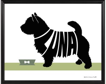 Personalized Norwich Terrier Silhouette Print, Framed 8x10 Terrier Name Art, Terrier Wall Art